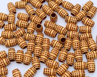 10 Pcs Wood Look Acrylic Barrel Beads 15x9mm Wooden Touch Acrylic Beads / Dholki Beads / Jewelry Making Designer Beads / Bead Findings WB19