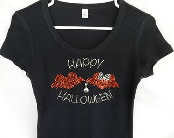 Rhinestone Disney Halloween Minnie & Mickey Bats Womens T-Shirt With A Removable Pumpkin Charm Or Choose From 8 Charms See 2nd Picture