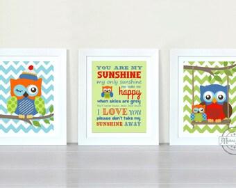 Owl Nursery Wall Art  - You Are My Sunshine My only Sunshine Print - Owl Art for Kids Room, Kids Wall Art Baby Boy Nursery, Owl  Decoration