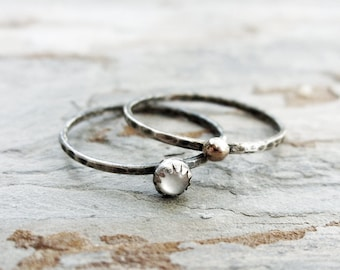 14k Yellow Gold and Mother of Pearl Micro Stacking Rings Set - Rustic Sun and Moon Hammered Sterling Silver Bands