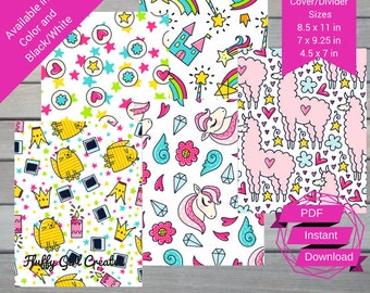 Doodle Cover/Dividers- Three Sizes Included- PDF- Instant Download