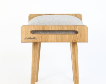 Stool / Seat / Ottoman / bench made of solid oak table, oak legs, upholstered in cold wool gray