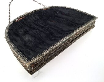 Vintage 20s Black Satin Evening Bag, Art Deco or Edwardian Curved Metal Filigree Purse Frame, Double Sided Frame w Kiss Clasp & Cable Chain
