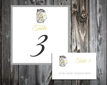 Mason Jar with Daises 25 Table Numbers and 250 place settings.  Personalized & printed Reception guests table decorations