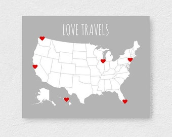 USA Travel Map, First Year Anniversary Gift, DIY Kit- Art Print and Heart Stickers, USA Map Print for Travelers,Couples Gifts Under 25, 8x10