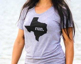 SALE*** RUN Texas - Home State Tee - American Apparel Track Tee - Unisex Sizes xs-xl & Women's Sizes s-xl