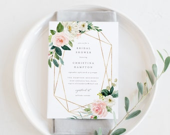 Editable Template - Instant Download Geometric Spring Romance Bridal Shower Invitation