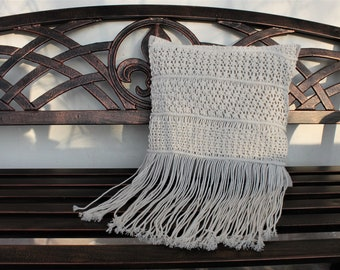 Macrame Pillow cover 16''x16'', cushion, Boho style, Housewarming gift, Wedding gift, Bohemian home decor, Easter gift