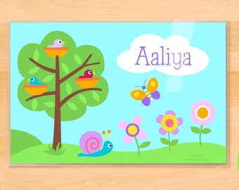 Olive Kids Personalized Baby Birds Placemat, Girls Placemat, Kids Placemat, Birdie Placemat, Spring Placemat, Laminated Placemat, Name Mat