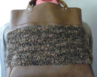 faux brown leather and knit bag