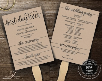 Best day ever Wedding Program FAN PDF template, instant download editable printable, Ceremony order card in rustic theme (TED410_11F)