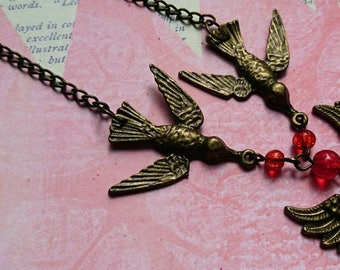 swallow necklace - tattoo inspired necklace - brass swallows - heart with wings - valentines gift - steampunk - love - pendant necklace