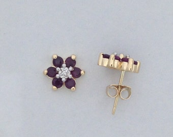 Natural Ruby with Natural Diamond Flower Stud Earrings Solid 14kt Yellow Gold