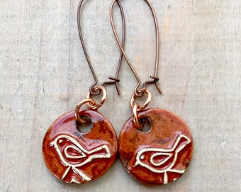 Bird Earrings-Porcelain Jewelry-Kim OHara Designs-Ceramic Jewelry