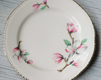Homer Laughlin Dessert Plate Pink White Dogwood, Flower Small plate, Made in USA, Tea Party, 1950s MCM Mid Century Farmhouse