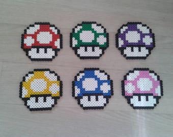 Set of 6 coasters Mario mushroom Hama bead