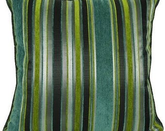 Blue, Green & Grey Stripe Decorative Interior Design Pillows