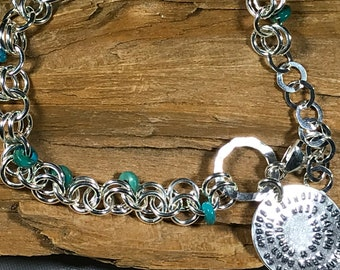 Friendship Bracelet Sterling Silver with Turquoise Beads - Best Friends, Going Away, Sisters, Graduation, BFF , Thank You , Love gift