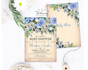 Boy Baby Shower Invitation Boy Blue Floral Baby Shower Invitation Baby Boy Shower Invitation Printable OR Printed No.451BABY