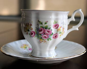 Royal Imperial Tea Cup, Pink Roses Tea Cup, English Bone China, Vintage Cup and Saucer, Pedestal Base Cup, Pink Roses