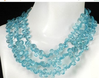 ON SALE Apatite Beads Faceted Apatite Pears, Briolettes or Flat Teardrops Blue Green Earth Mined Gem   2, 4 or 8-Inches   5x4 to 7x4mm
