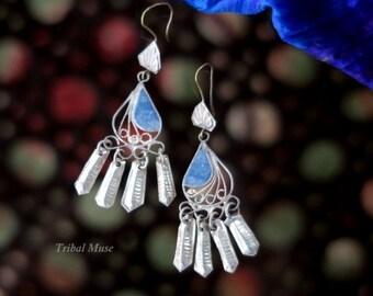 Vintage Afghan Lapis Lazuli Dangle Earrings