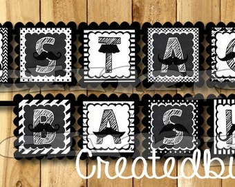 Mustache Happy Birthday Banner Mustache party Mustache banner Party decorations mustache theme 1st birthday Chalk name banner little man