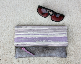 Purple Stripes and Gray Faux leather Foldover Clutch