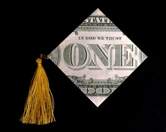 Money Origami GRADUATION CAP 3D Art Gift Folded with Crisp Real One Dollar Bill