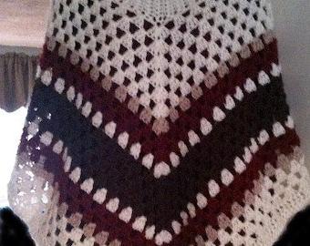 Poncho, Ponchos, Crochet, Turtleneck,  Womens Fashions,Fashions,  Cream, Brown, Shawl,