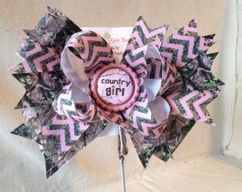 Country Cutie Camo Over the top boutique bow-layered bow-stacked bow-girls large boutique hair bow Pink