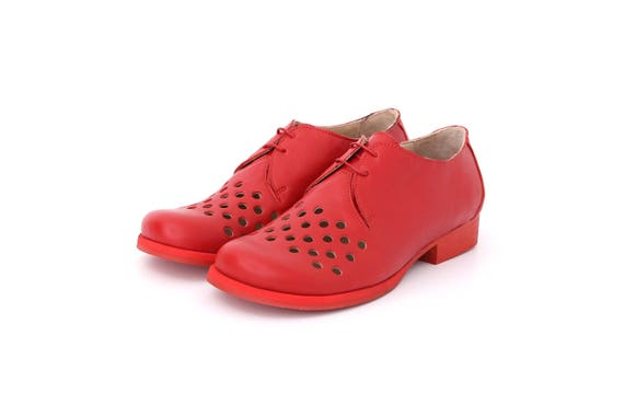 shipping free shoes circles geometric with cutout red Flats Leather ADIKILAV shoes handmade wide Women's OfxBqgnB