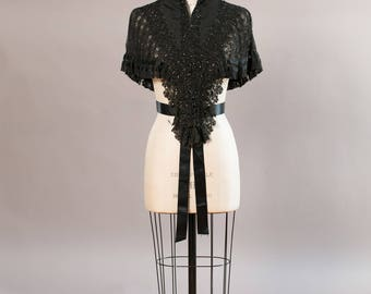 Victorian mourning mantle with pleated lace soutache trim and jet beadwork