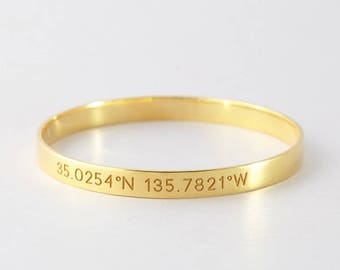 Gold GPS Coordinates Bangle • Farewell gift • Latitude Longitude Bracelet in Sterling Silver • Coordinates Jewelry • Graduation Gift CCB09