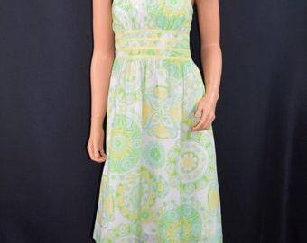 LILLY PULITZER Green Yellow Daisy Print Cotton Silk Strapless Dress Size XS