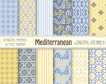 Blue Yellow Digital Paper Pack - Mediterranean - Instant Download