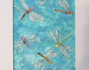 Colorful Dragonflies Original Watercolor Abstract Painting Matted 14 X 11 Children Decor