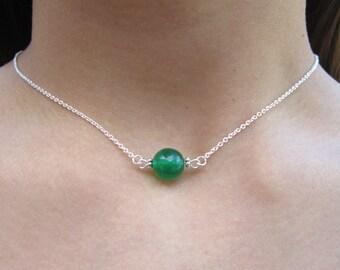 Green Jade Dainty Necklace, Simple Gemstone Necklace, Green Jade Minimalist Necklace, Jade Delicate Gemstone Necklace Solitaire Necklace