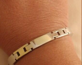 Vintage Silvertone Metal Mens Link  Bracelet
