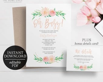 Printable Floral Baby Shower Invitation | Editable Template | Oh Baby | Pink Pastel Watercolour Flowers | Baby Girl | Baby Shower | Instant