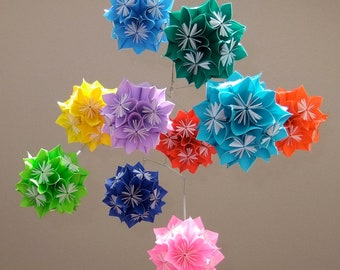 Rainbow Starburst Flower Ball Mobile~Flower Mobile~Paper Ball Mobile~Baby Mobile~Kusudama~Paper Flower Mobile~Baby Shower Gift~New Baby Gift
