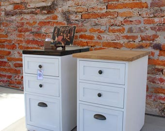 2 Or 3 Drawer Chic Wood Cabinet W/ Wood Top / Rustic Shabby / Filing Cabinet  / Rustic Office Furniture
