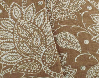 Designer Brown Floral Paisley Print Decorating Fabric, Fabric By The Yard