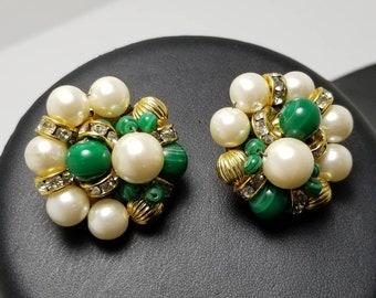 Green Glass & Faux Pearl Earrings