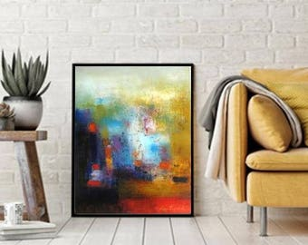 """XL Wall art print, Modern Art, Mustard yellow decor, contemporary home art, Original Abstract painting oil on stretched canvas size 16""""x20"""""""