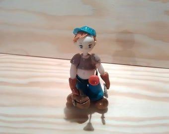 Decorative figurine: little plumber made cold porcelain