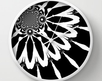 Clock, The Modern Flower Black & White Clock, Wall Clock, Black Flower Clock, Black Clock, Black and White Clock, Home Decor, Kitchen Clock