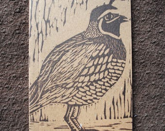 Quail Block-Printed Journal - Small Linocut Kraft Paper Journal - Blank or Lined