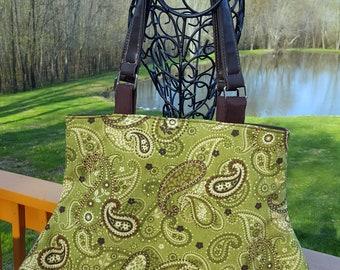 Rustic Paisley Handbag Purse Green Brown Ivory Casual Bag