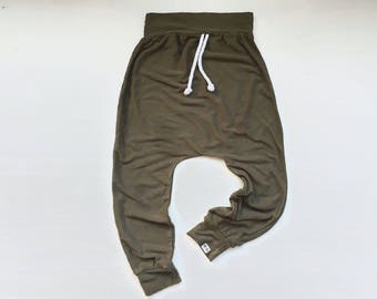 Baby Harem Pants | Grow With Me Pants | Baby Harems | Baby Joggers | Hipster Baby Pants | Toddler Harem Pants | Army Green Drawstring Harems